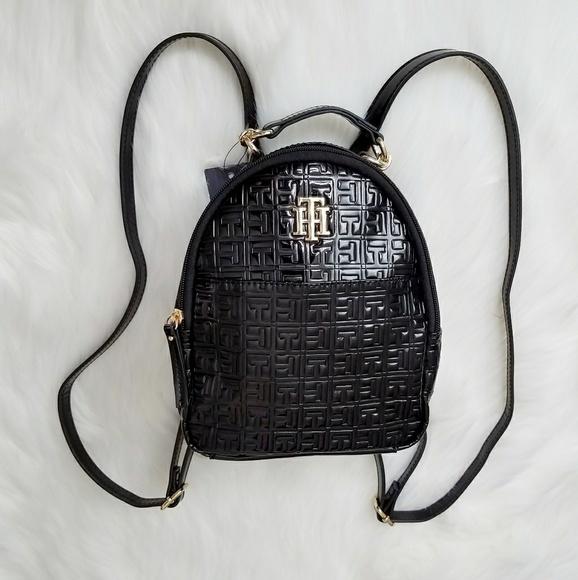 d1161b3b7bec Tommy Hilfiger Black Patent Texture Mini Backpack